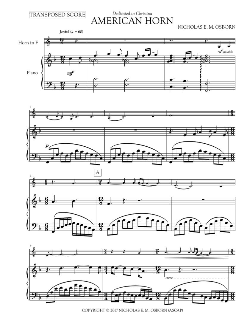 OSBORN, NICHOLAS E. M. - AMERICAN HORN - FULL SCORE Page 1.png