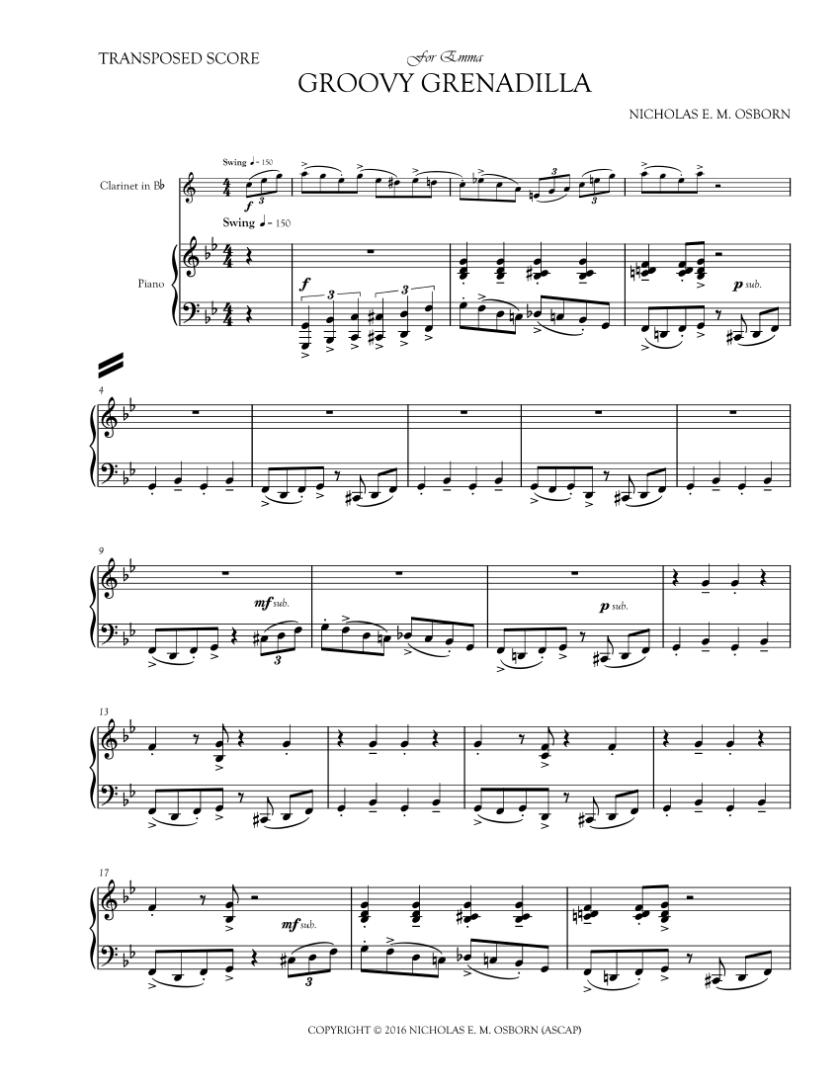 OSBORN, NICHOLAS E. M. - GROOVY GRENADILLA - FULL SCORE Page 1